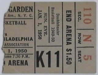 1950 New York Knicks Ticket Stub vs Philadelphia