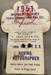 1951 World Series Press Pass Yankee Stadium