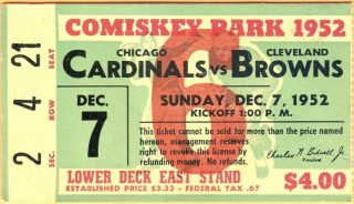 1952 Chicago Cardinals ticket stub vs Browns