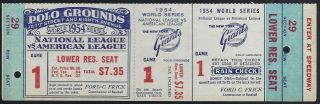 1954 World Series Game 1 The Catch full ticket