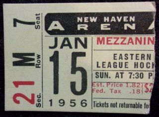 1956 EHL New Haven Blades Ticket Stub