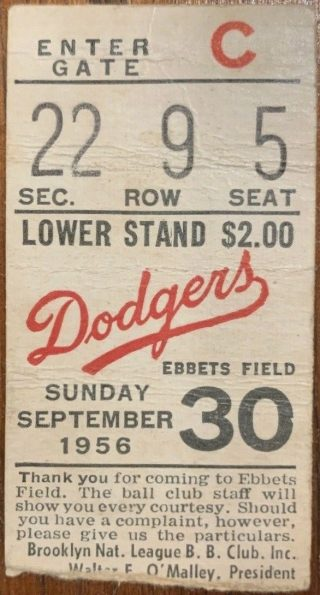 1956 Jackie Robinson final game ticket stub