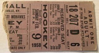 1958 IHL Louisville Rebels ticket stub vs Cincinnati Mohawks