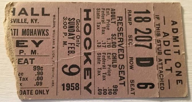 1958 IHL Louisville Rebels ticket stub vs Cincinnati