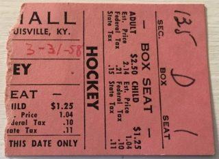 1958 IHL Louisville Rebels ticket stub vs Indianapolis
