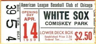 1959 Chicago White Sox Opening Day ticket stub vs Athletics