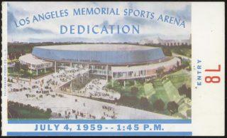1959 LA Memorial Sports Arena Dedication Ticket Stub