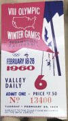1960 Winter Olympics ticket stub Squaw Valley