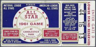 1961 MLB All Star Game ticket stub Candlestick Park