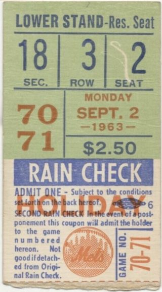 1963 Pete Rose Home Run ticket stub at Polo Grounds