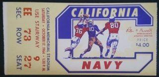 1964 NCAAF UC Berkeley ticket stub vs Navy