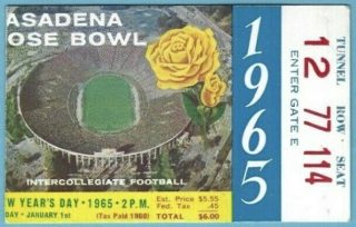 1965 Rose Bowl ticket stub Michigan vs Oregon