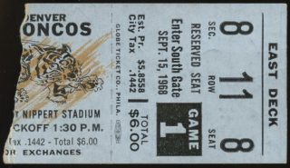 1968 Cincinnati Bengals debut ticket stub vs Broncos
