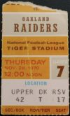 1970 Detroit Lions ticket stub vs Oakland