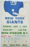 1970 New York Jets ticket stub vs New York Giants