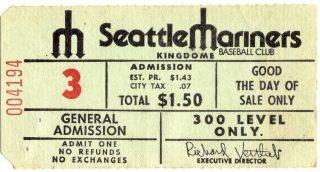 1970's Seattle Mariners ticket stub Kingdome Stadium