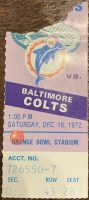 1972 Dolphins Perfect Season ticket stub vs Colts