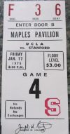 1975 NCAAMB Stanford ticket stub vs UCLA