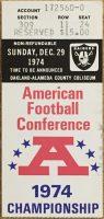 1974 AFC Championship Game ticket stub Raiders vs Steelers