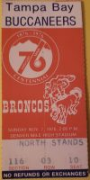 1976 Denver Broncos ticket stub vs Buccaneers