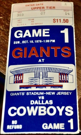 1976 Giants Stadium First Game ticket stub