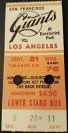 1976 San Francisco Giants ticket stub vs Dodgers
