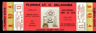 1976 NCAAF Oklahoma ticket stub vs Florida State