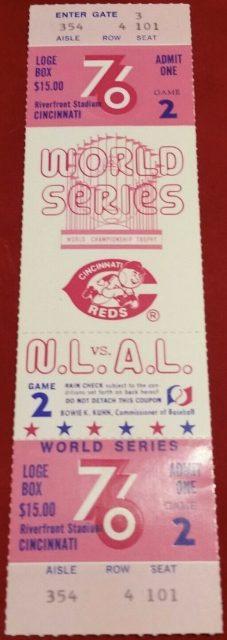 1976 World Series Game 2 Full Ticket Reds vs Yankees
