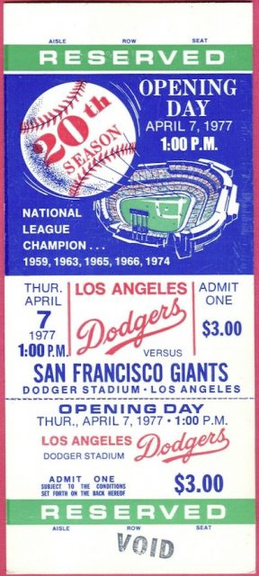 1977 Dodgers Opening Day ticket stub vs Giants