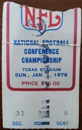 1978 NFC Championship Game ticket stub Vikings Cowboys