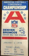 1978 AFC Championship Game ticket stub Raiders Broncos