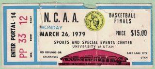 1979 NCAA Finals Championship Bird vs Magic Ticket Stub