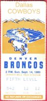 1980 Denver Broncos ticket stub vs Cowboys