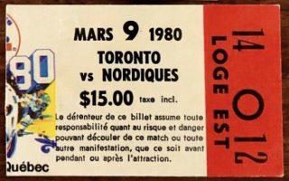 1980 Quebec Nordiques ticket stub vs Toronto