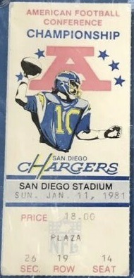 1981 AFC Championship Game ticket stub Raiders Chargers