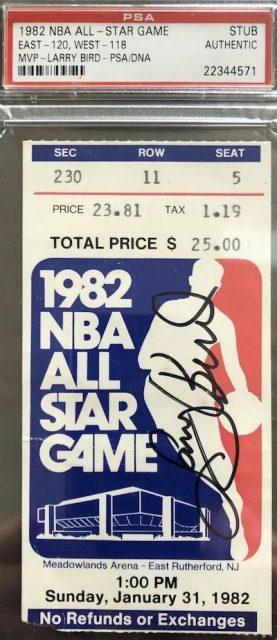 1982 NBA All Star Game Ticket Larry Bird MVP