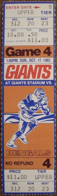 1982 New York Giants ticket stub vs Bengals