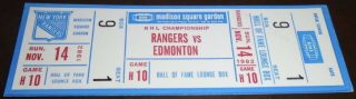 1982 New York Rangers ticket stub vs Oilers