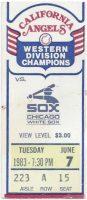 1983 California Angels ticket stub vs White Sox