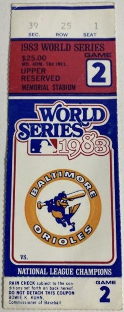 1983 World Series Game 2 ticket stub Orioles vs Phillies