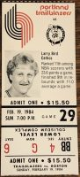 1984 Trail Blazers ticket stub vs Boston Larry Bird