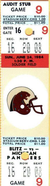 1984 USFL Chicago Blitz ticket stub vs Michigan Panthers