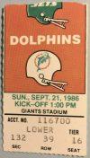1986 Dan Marino 6 TD ticket stub Jets vs Dolphins