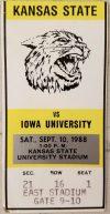 1988 NCAAF Kansas State ticket stub vs Iowa