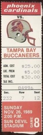 1989 Phoenix Cardinals ticket stub vs Buccaneers