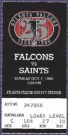 1990 Atlanta Falcons Ticket Stub vs Saints
