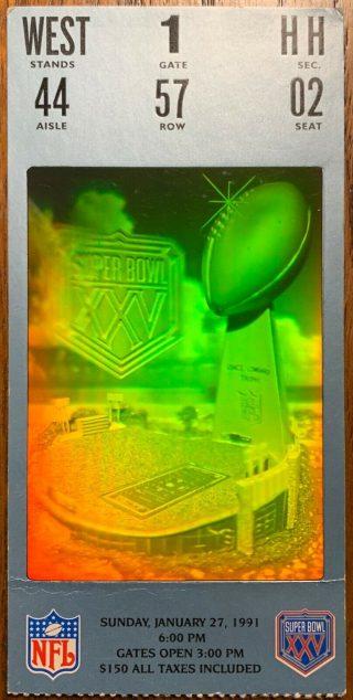 1991 Super Bowl ticket Giants over Bills