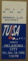 1992 CHL Tulsa Oilers ticket stub vs Blazers