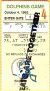 1992 Miami Dolphins ticket stub vs Bills