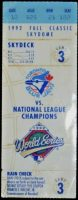 1992 World Series Game 3 ticket stub Braves at Blue Jays